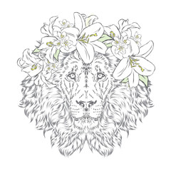 Lion in a wreath of flowers. Vector illustration. Print for clothes, posters or postcards.