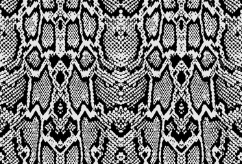 Snake python skin texture. Seamless pattern black on white background. Vector