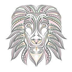 Lion painted in ethnic style . Lion of the patterns. Indian / African style . Sketch of tattoo or print on a T-shirt , cover , poster , postcard, or clothing . Print for a backpack or bag .