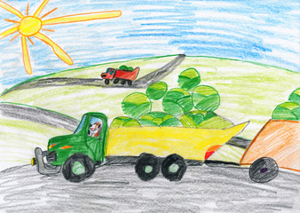 harvesting, truck with vegetables goes off field, dog driver, agriculture concept, child drawing object on paper, hand drawn art picture