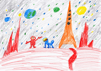 Astronaut and dog exploring the red planet, space concept, child drawing on paper