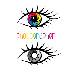 Camera shutter in eye design Concept. Photographer.