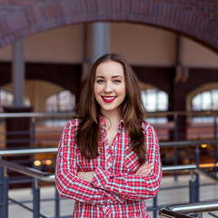 girl in a checkered red shirt