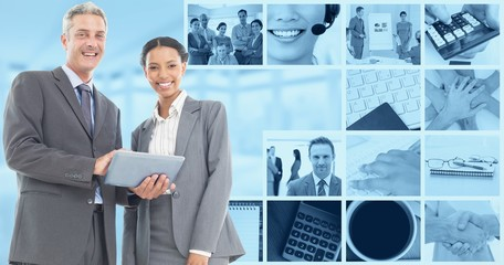 Composite image of business people using tablet computer