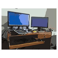 Illustration vector of closeup color personal computer with two screen