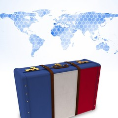 Composite image of french flag suitcase