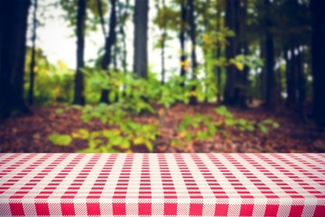 Composite image of red and white tablecloth