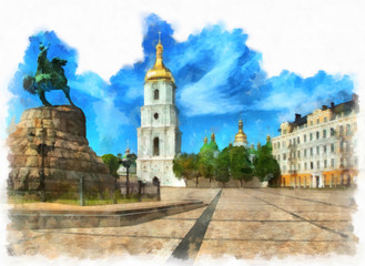 Saint Sophia Cathedral and monument to Bogdan Khmelnitsky in Kiev. Digital imitation of watercolor painting