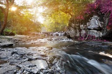 Spoed Fotobehang Bos rivier beautiful water fall in thailand