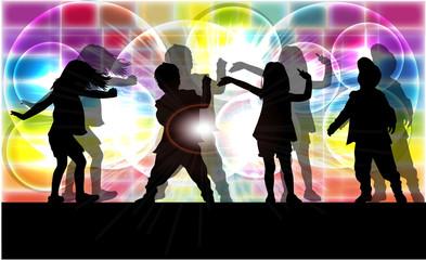 Dancing children. Silhouettes conceptual.