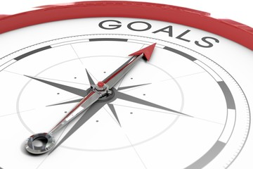Compass pointing to goals