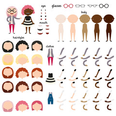 Girl. Parts of body template for design work. Face and body elements. Different human skin colors. Different hairstyles and hair colors. Different clothing options. Vector illustration.