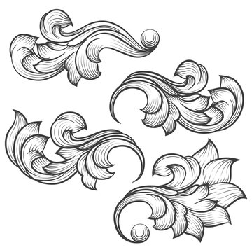 Baroque engraving leaf scroll. Retro foliage ornament element vector illustration