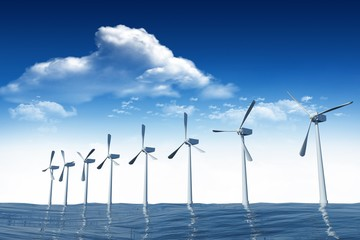 Composite image of wind turbine are working