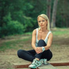 Portrait of positive sporty girl