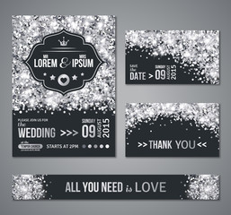 Wedding invitation Silver confetti and black background