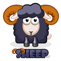 cute cartoon square black Sheep