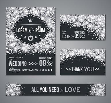 Wedding invitation Silver confetti and black background