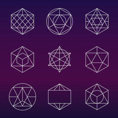 Sacred geometry vector symbols and elements set
