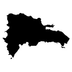 Dominican Republic black map on white background vector