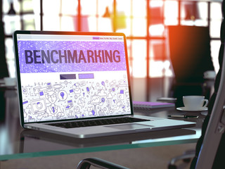 Benchmarking Concept Closeup on Landing Page of Laptop Screen in Modern Office Workplace. Toned Image with Selective Focus. 3D Render.