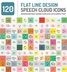 Set of line design speech bubbles, technology modern communication logo collection