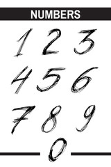 Sketchy Numbers in various Colors. Ink drawn typography. Brush lettering sign. Calligraphic Alphabet Letterform. Digital vector illustration. Isolated on white background.