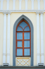 Ornamented window lancet arch of a cathedral in gothic style