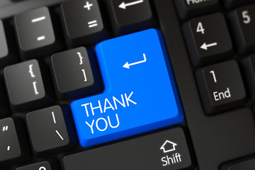 Thank You Concept. Computer Keyboard with Thank You on Blue Enter Keypad Background, Selected Focus. Keypad Thank You on Modernized Keyboard. 3D Illustration.