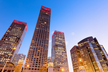 Fotomurales -  Night view of high rise office buildings at the Central Business District in Beijing, China.