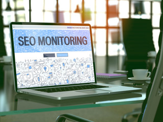 Modern Workplace with Laptop Showing Landing Page in Doodle Design Style with Text SEO - Search Engine Optimization - Monitoring. Toned Image with Selective Focus. 3D Render.