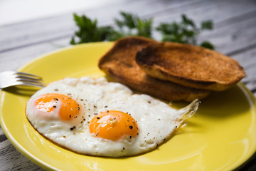 Fried eggs on a yellow plate