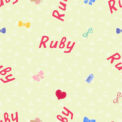 Seamless background pattern name Ruby of the newborn. Name baby Ruby. Seamless name Ruby. Ruby vector.
