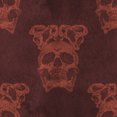 Terrible frightening seamless pattern with skull