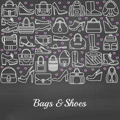 Background made of line icons. Bags and shoes. Chalkboard background. Vector illustration