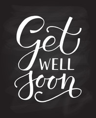 Hand sketched inspirational quote 'Get well Soon'