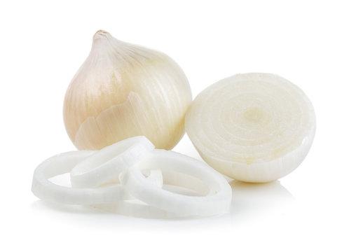 white onion on white background