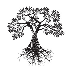 Vector Black Olive Tree.