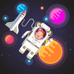 Astronaut boy flying in space