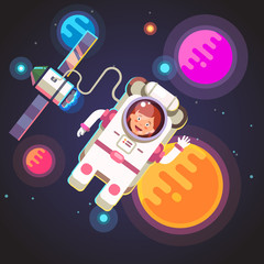 Astronaut girl flying in space