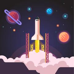 Rocket ship shuttle launch