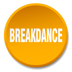 breakdance orange round flat isolated push button