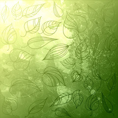 Green leaves pattern. watercolor illustration. Hand drawn elements background.
