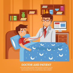 Doctor Attending Patient Home Flat Illustration