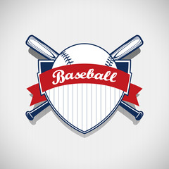 Baseball logo on stripes background