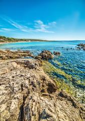rocks by the shore in Le Bombarde beach