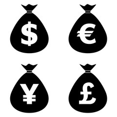 Money Bags with currency symbols icons set. Stock and finance design elements. Vector illustration.