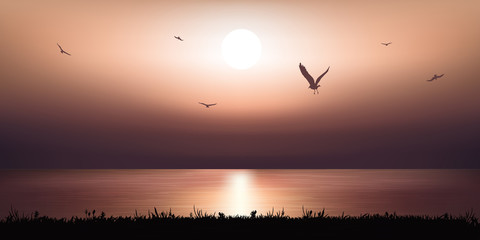 Paysage Coucher de soleil - océan