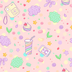 Vector hand drawn siamless pattern. Cute pattern with the image of the camera, cocktail, pastry, macaroon, bow, photo palaroid, panda, cloud and others.
