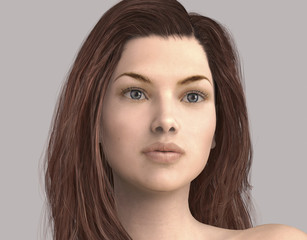 3D illustration of a womans face isolated